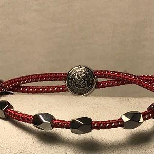 Diesel Men's Bracelet Beaded Gray Red Slider